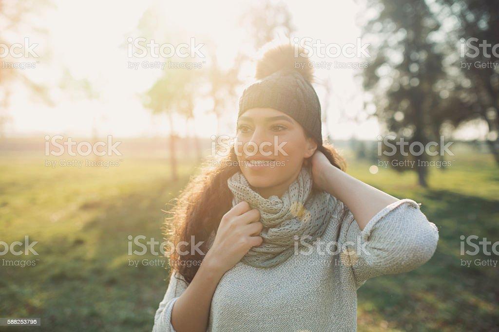 Joyful by the sunny autumn stock photo