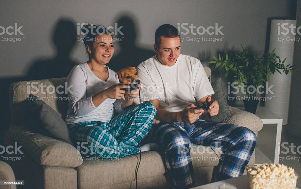 Joyful couple playing video games together on the sofa stock photo