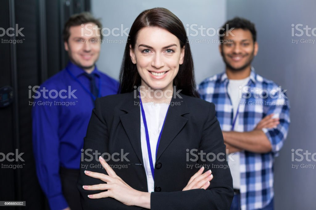 Joyful delighted woman smiling stock photo