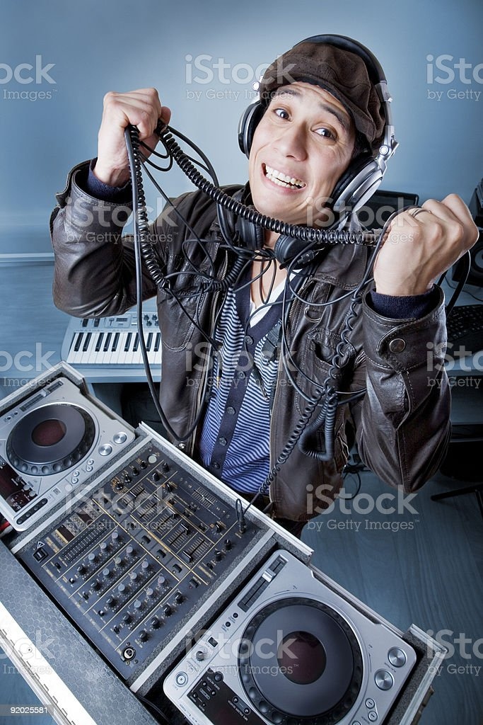 Joyful DJ royalty-free stock photo