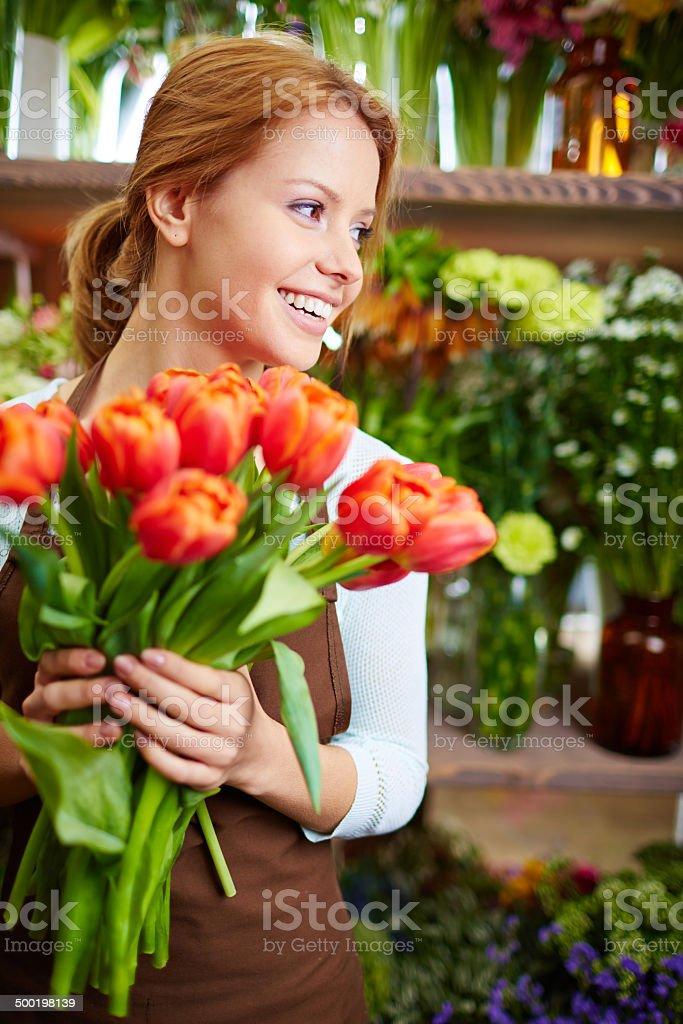 Joyful florist stock photo