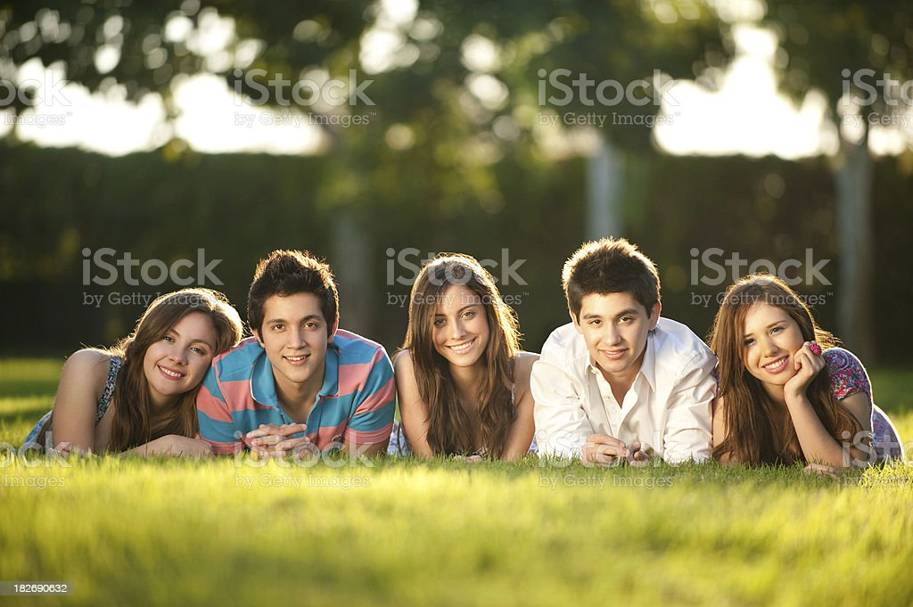 Joyful friends smiling at the camera royalty-free stock photo