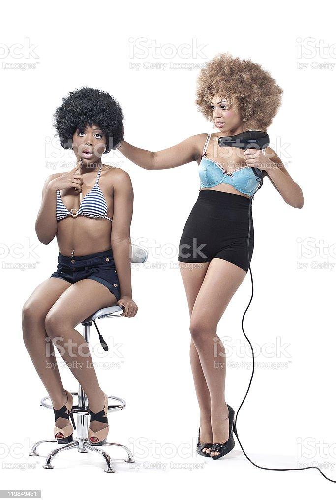 Joyful hairstyling stock photo