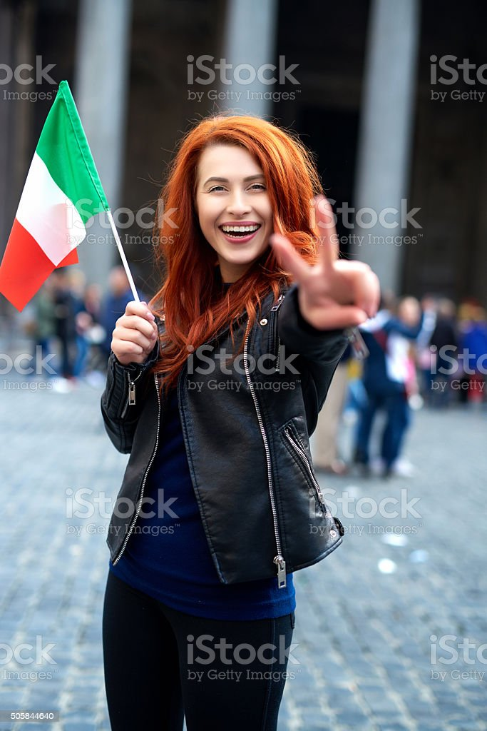 joyful in my Italy trip stock photo