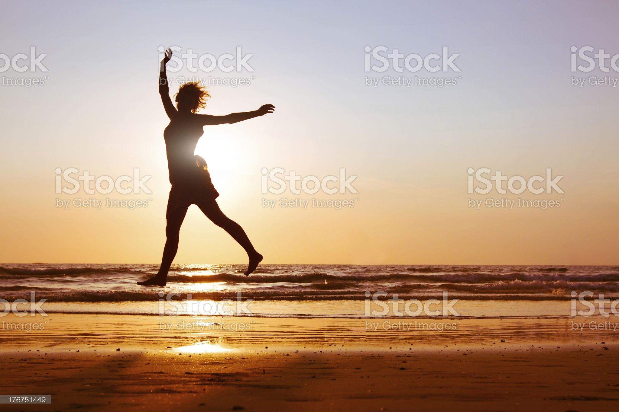 joyful jumping girl royalty-free stock photo