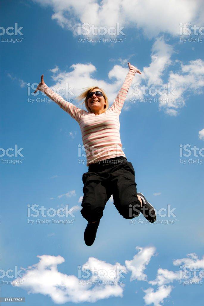 Joyful leap royalty-free stock photo