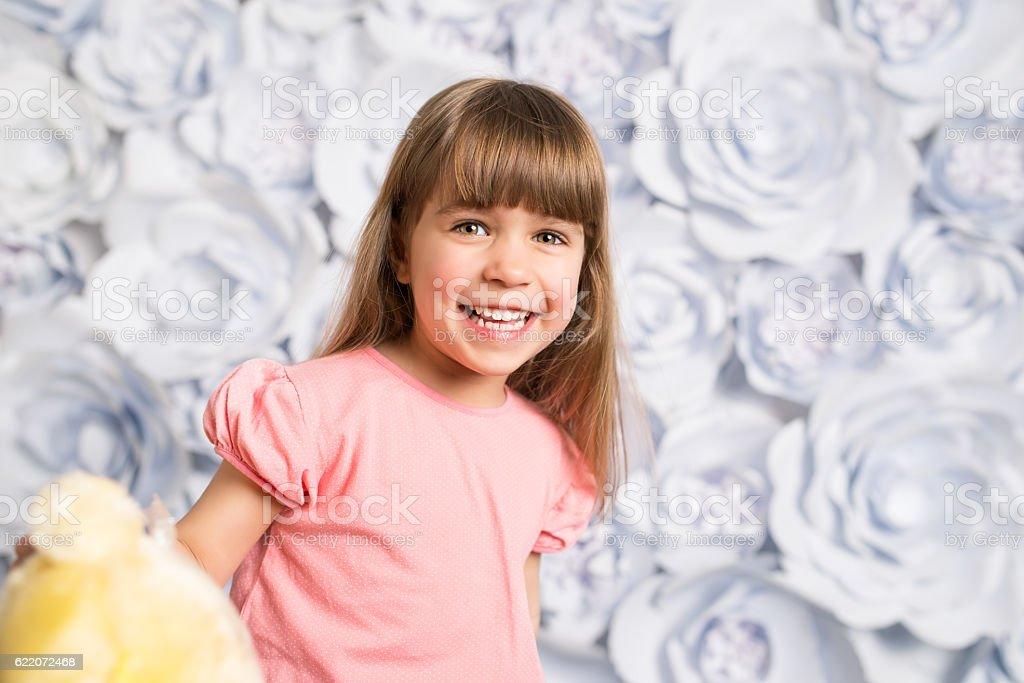 Joyful little girl portrait stock photo