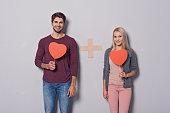 Joyful loving couple showing their feelings