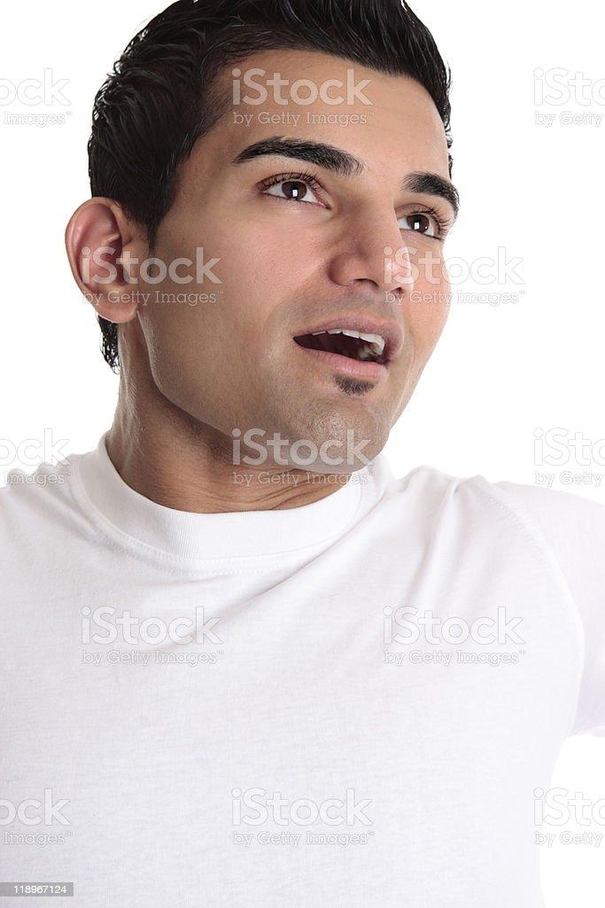 Joyful man looking towards heaven stock photo