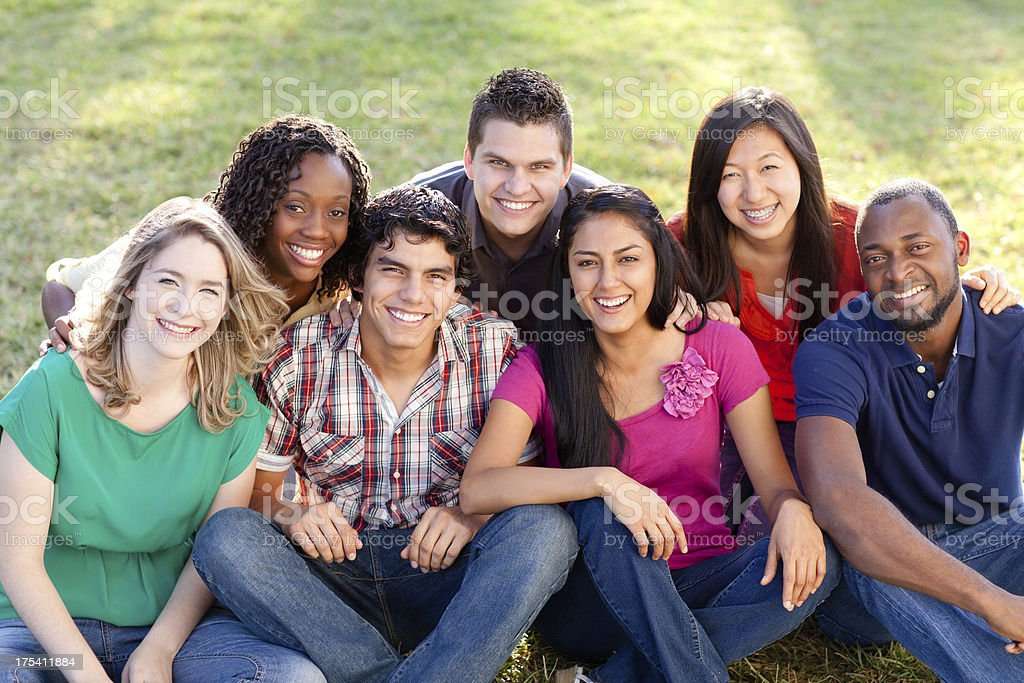 Joyful multi-ethnic friends royalty-free stock photo