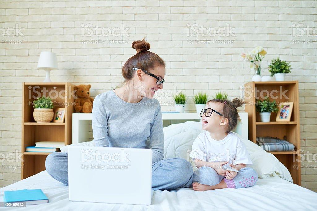 Joyful social media users stock photo