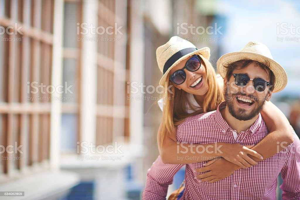 Joyful tourists stock photo