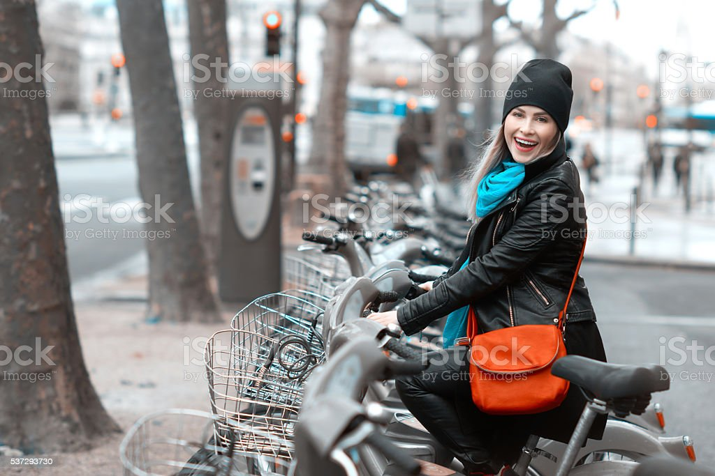joyful walk with the bike stock photo