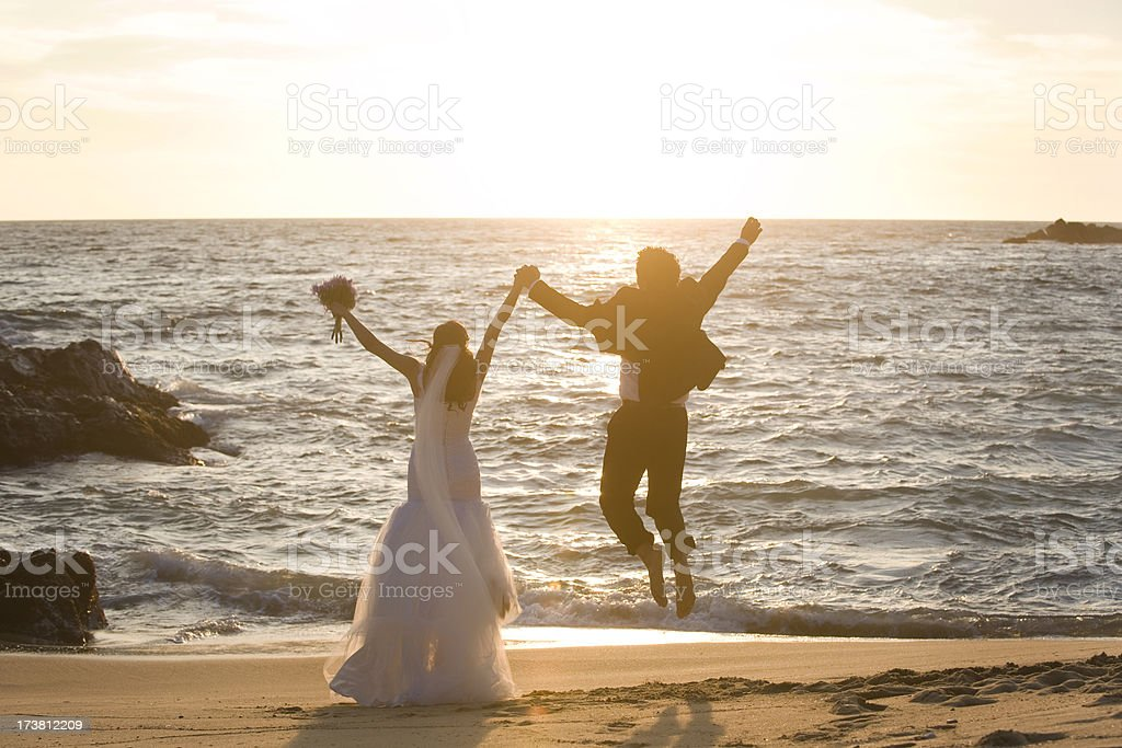 Joyful wedding couple royalty-free stock photo