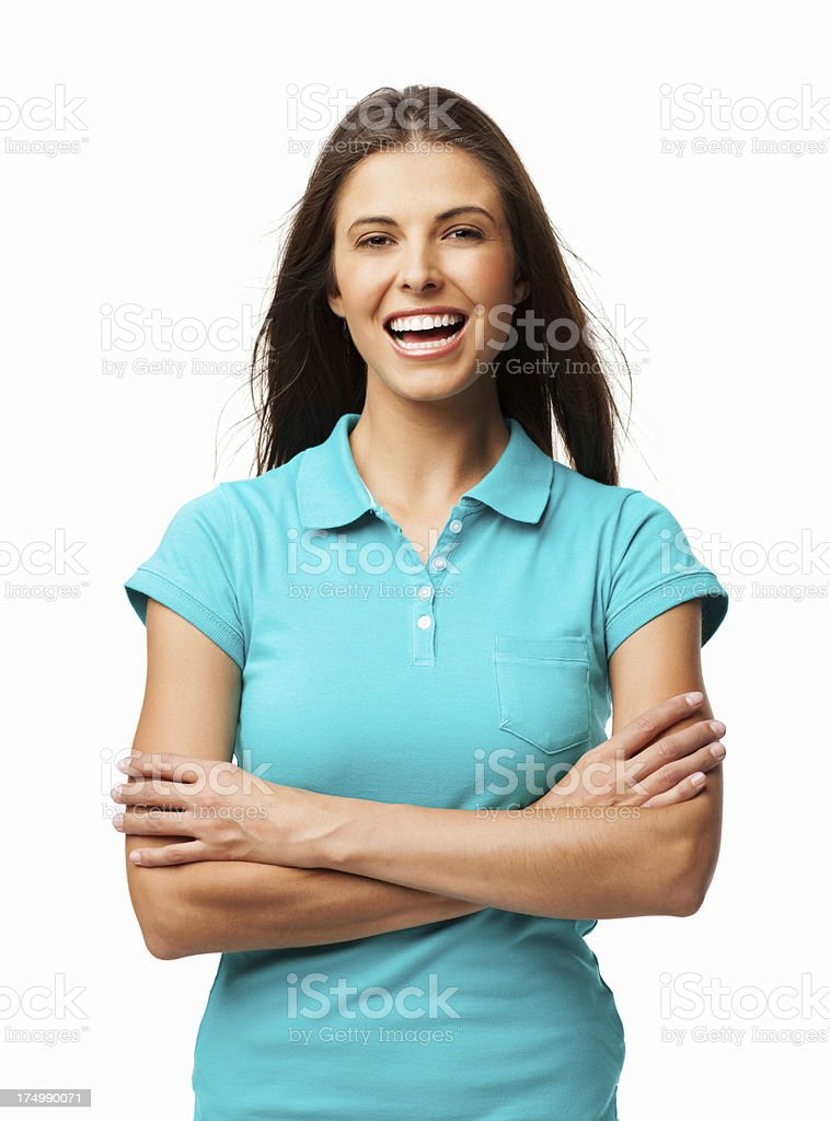 Joyful Woman With Arms Crossed - Isolated royalty-free stock photo