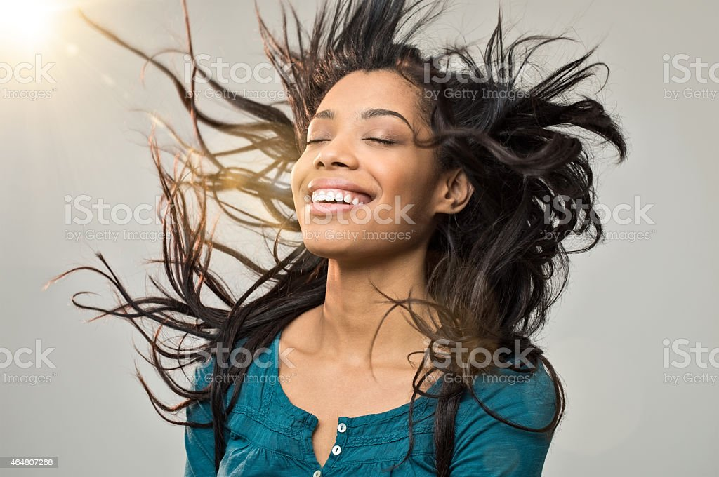 Joyful woman with hairstyle stock photo