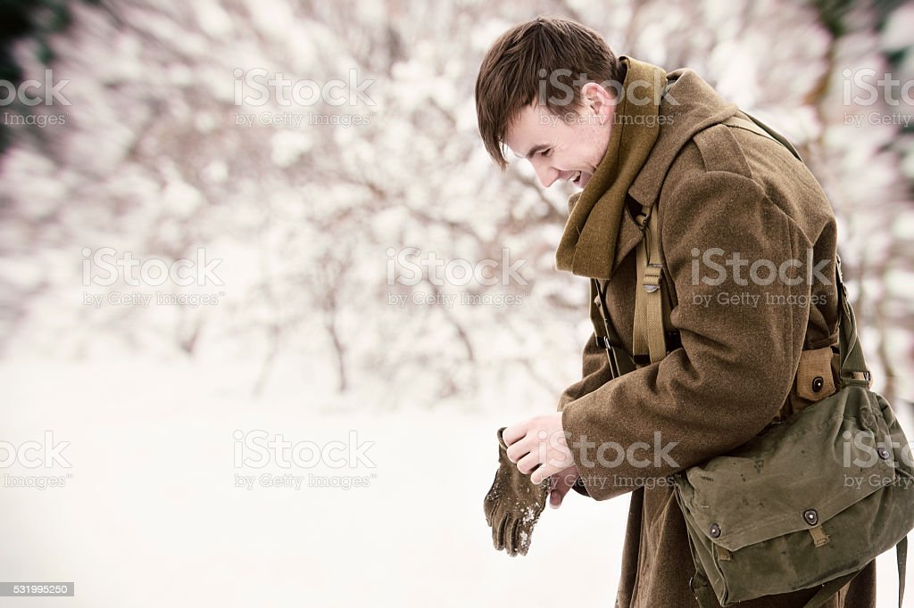 Joyful WWII Soldier After Hearing He Is Going Home stock photo