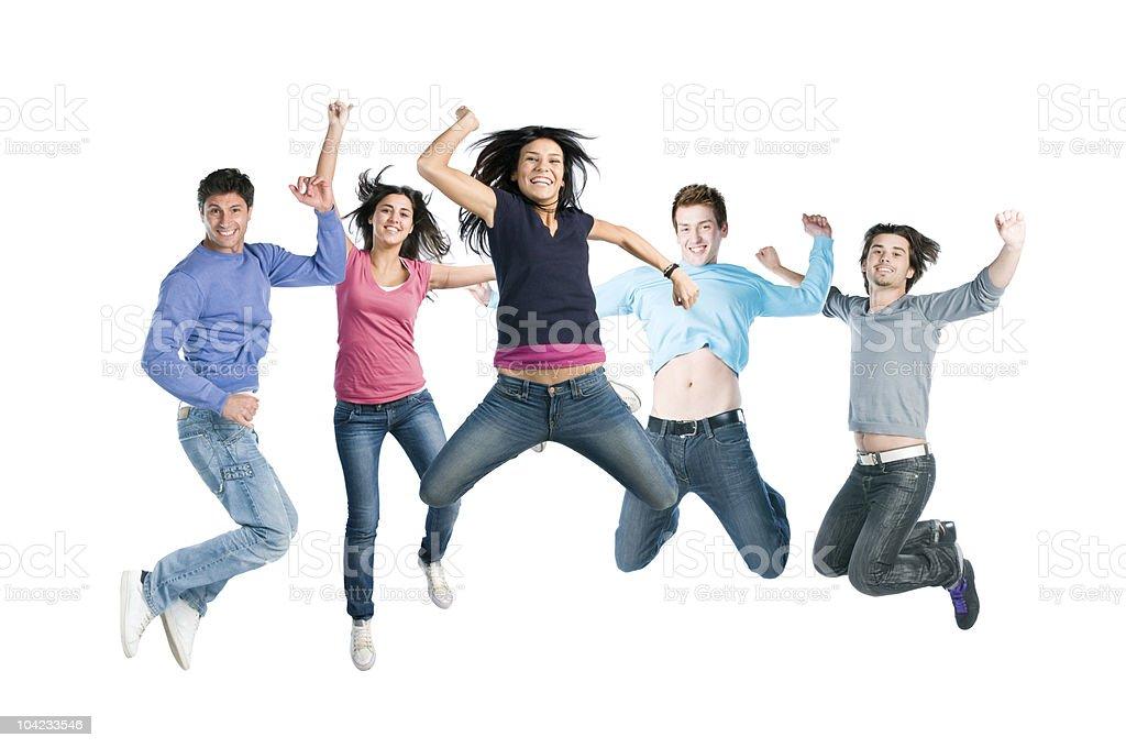 Joyful young happy people jumping royalty-free stock photo