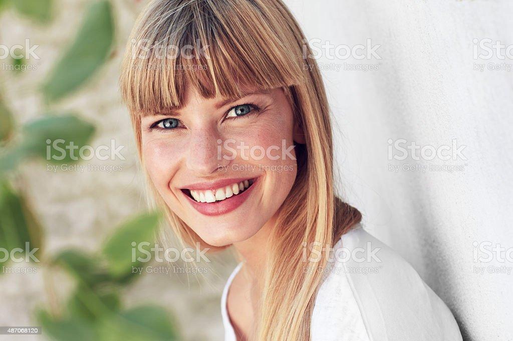 Joyful young woman portrait stock photo