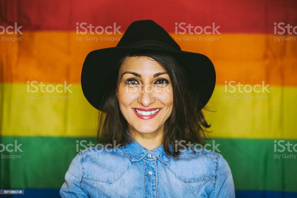 Joyfull Lesbian Girl in Black Hat stock photo