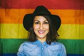 Joyfull Lesbian Girl in Black Hat