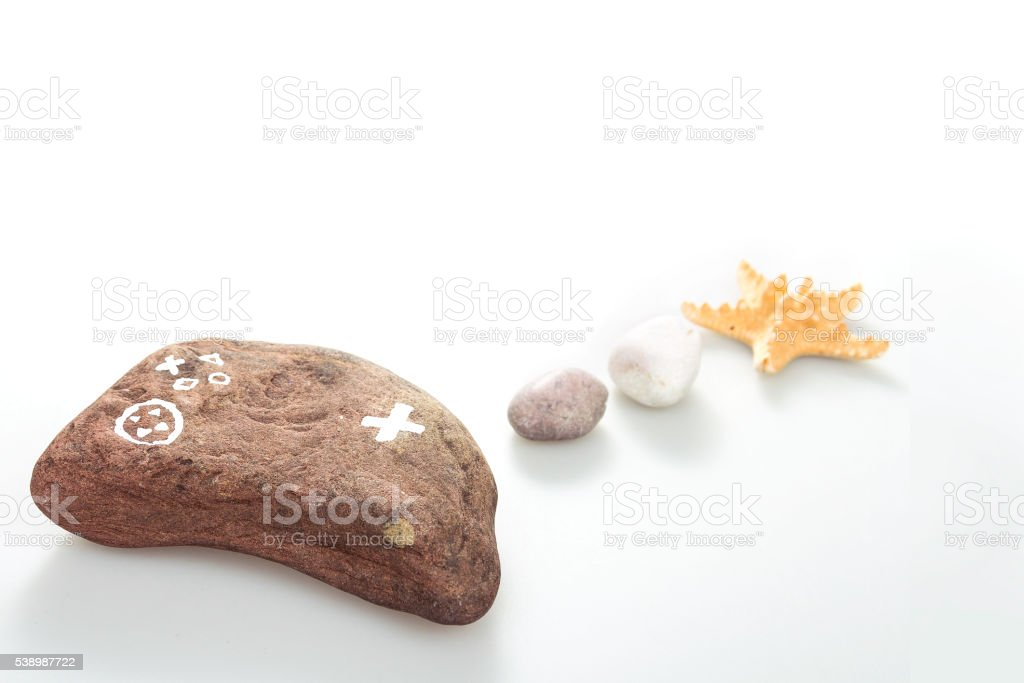 Joystick with star stone stock photo