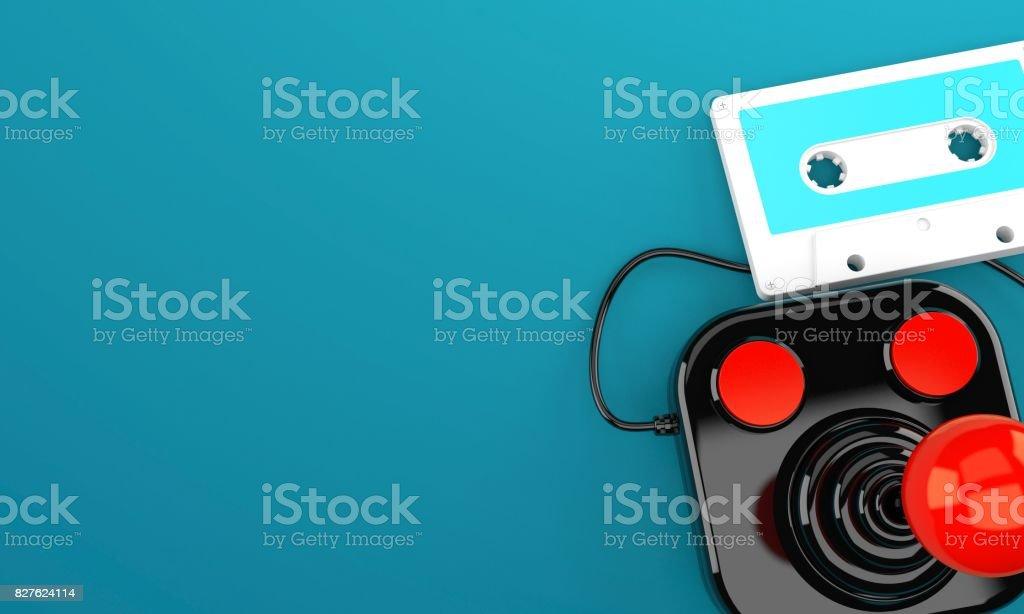 Joystick with tape stock photo