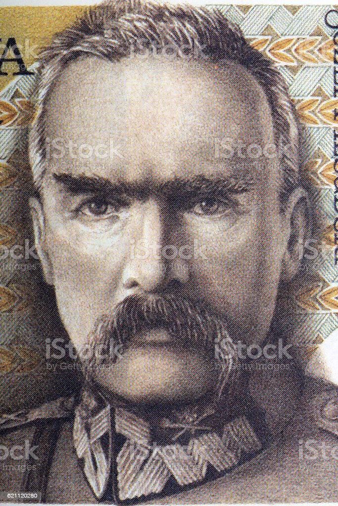 Jozef Pilsudski portrait from old five milion zloty stock photo