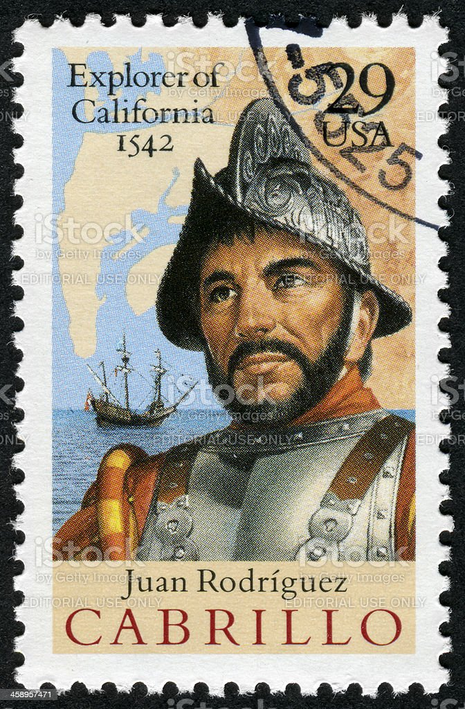 Juan Rodriguez Cabrillo, Explorer Of California Stamp royalty-free stock photo