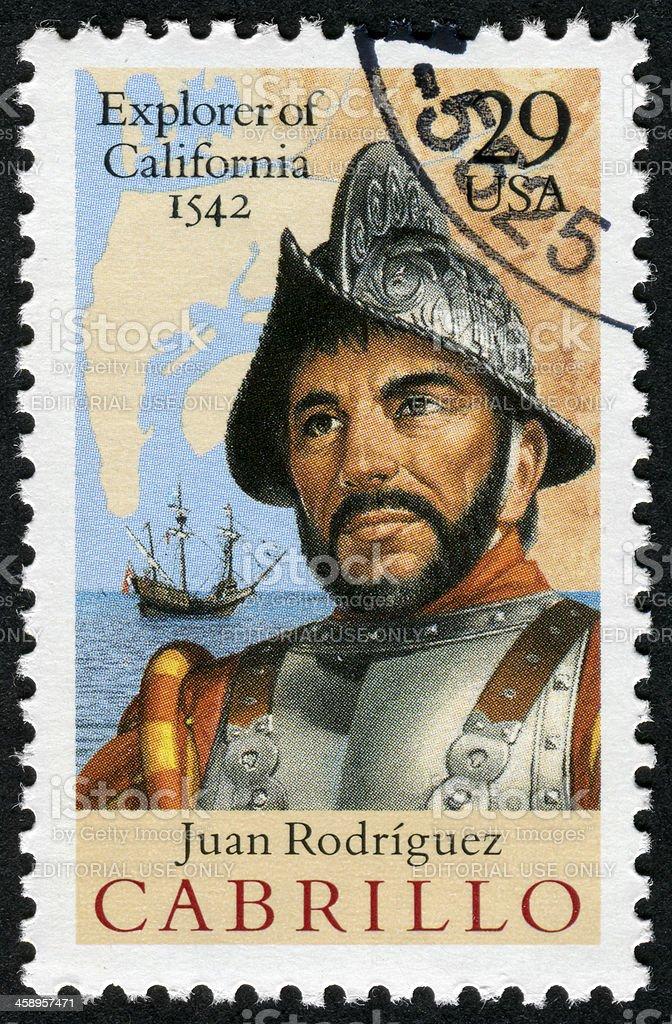 Juan Rodriguez Cabrillo, Explorer Of California Stamp stock photo