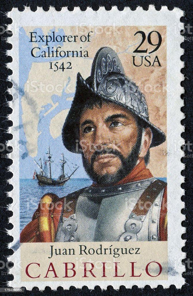 Juan Rodriguez Cabrillo Stamp stock photo