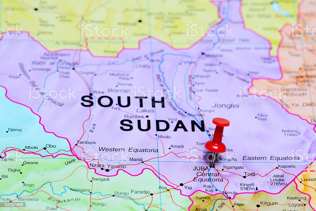 Juba pinned on a map of Africa stock photo