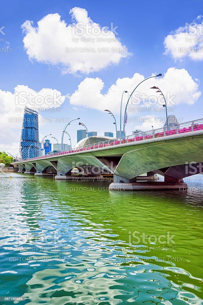 Jubilee Bridge at Marina Bay of Singapore stock photo