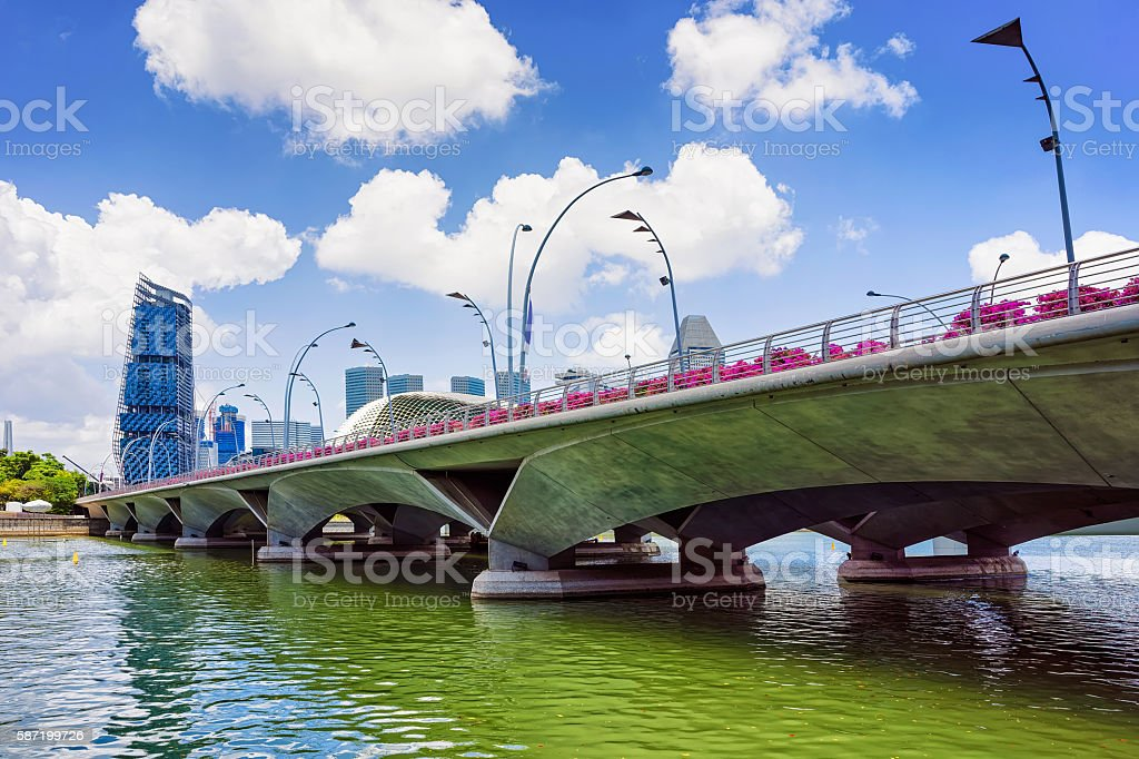 Jubilee Bridge at the Marina Bay in Singapore stock photo