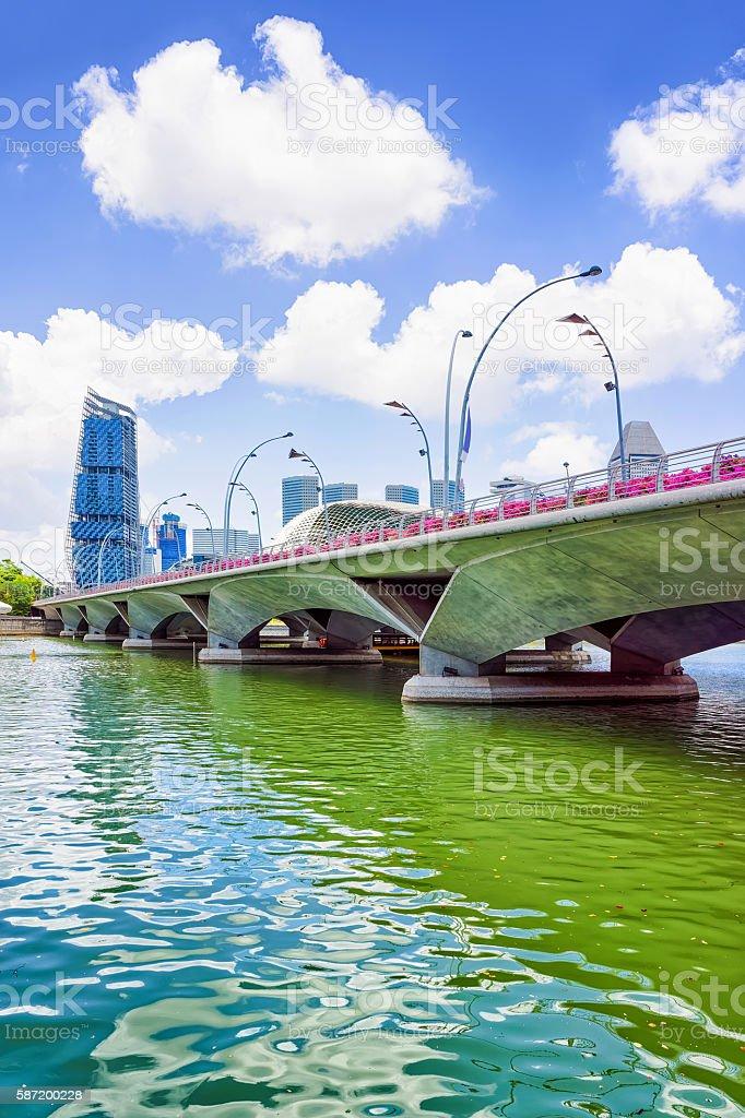 Jubilee Bridge at the Marina Bay of Singapore stock photo