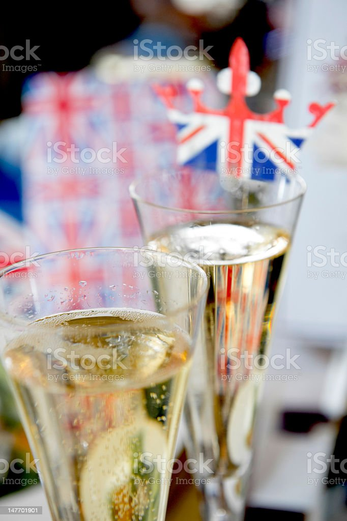 Jubilee champagne glasses stock photo