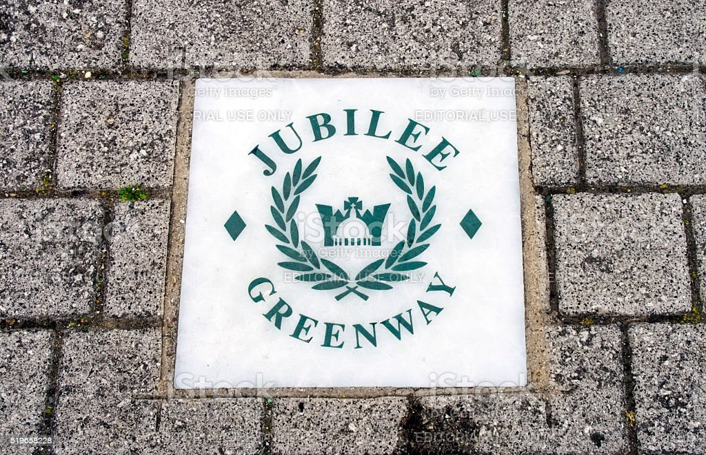 Jubilee Greenway - sign on a London walking route stock photo