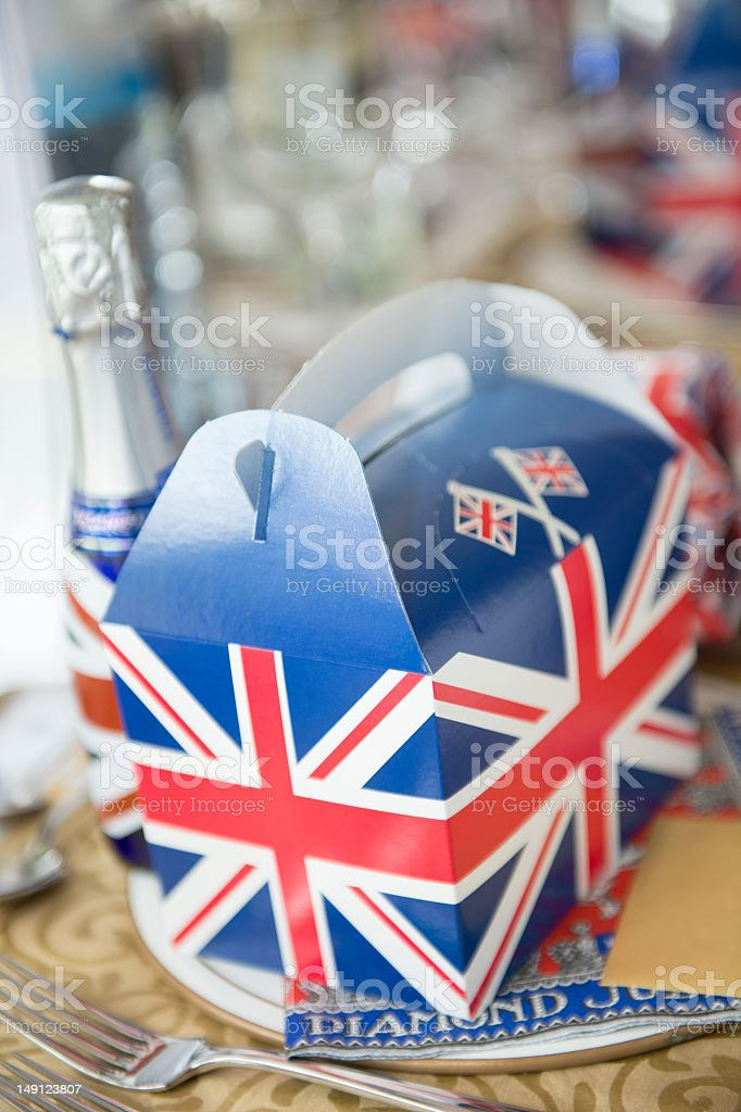 Jubilee party place setting stock photo