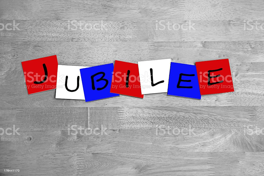 Jubilee - sign in letters. stock photo