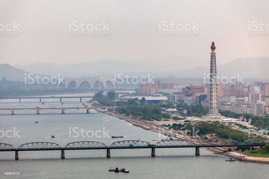 Juche Tower in Pyongyang, North Korea stock photo