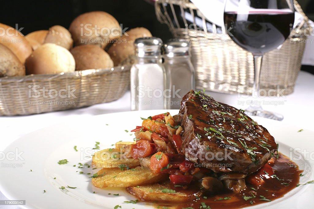 jucy steak well done stock photo