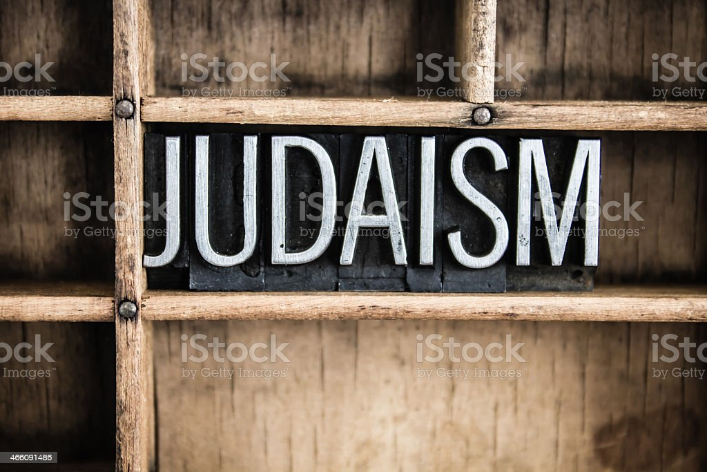 Judaism Concept Metal Letterpress Word in Drawer stock photo