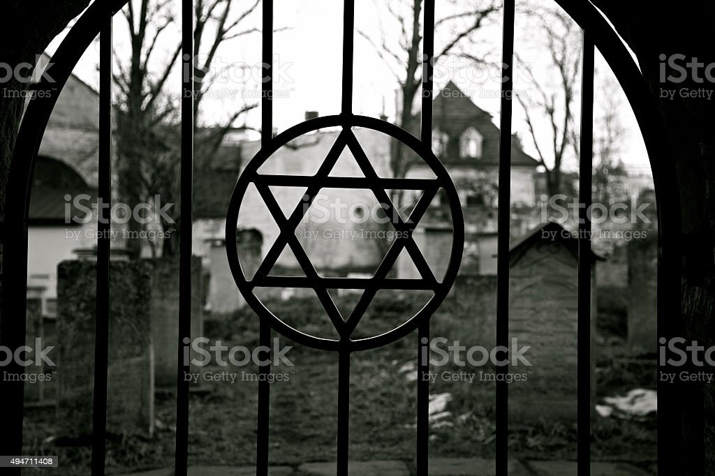 Judaism. Jewish Star of David. Jude Cemetery.Ghetto. Holocaust. Auschwitz. stock photo