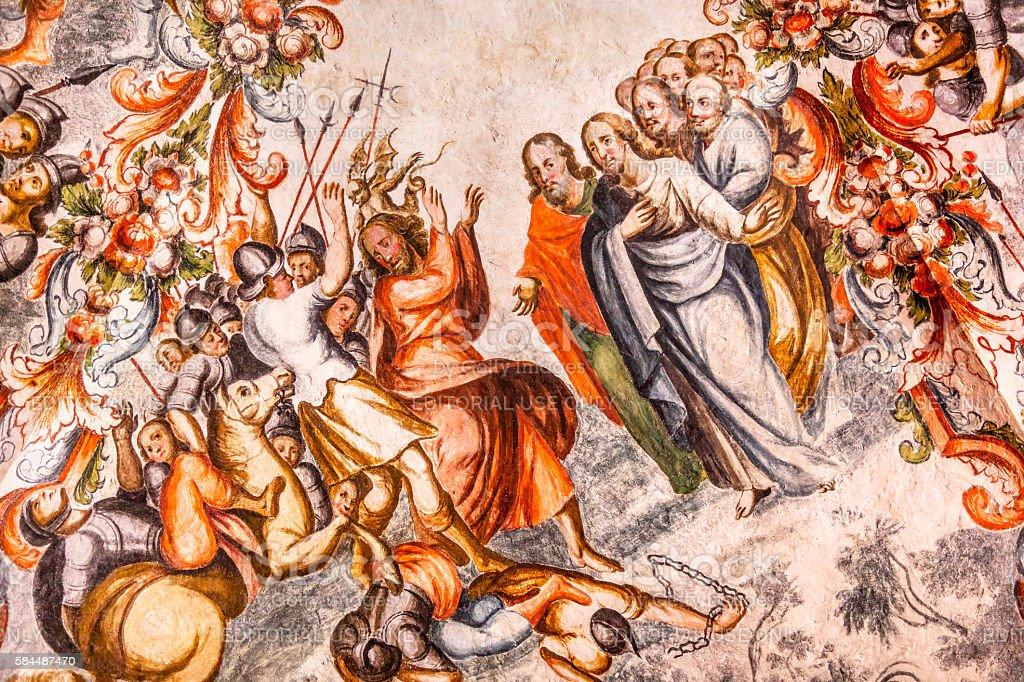 Judas Jesus Fresco Sanctuary of Jesus Atotonilco Mexico stock photo