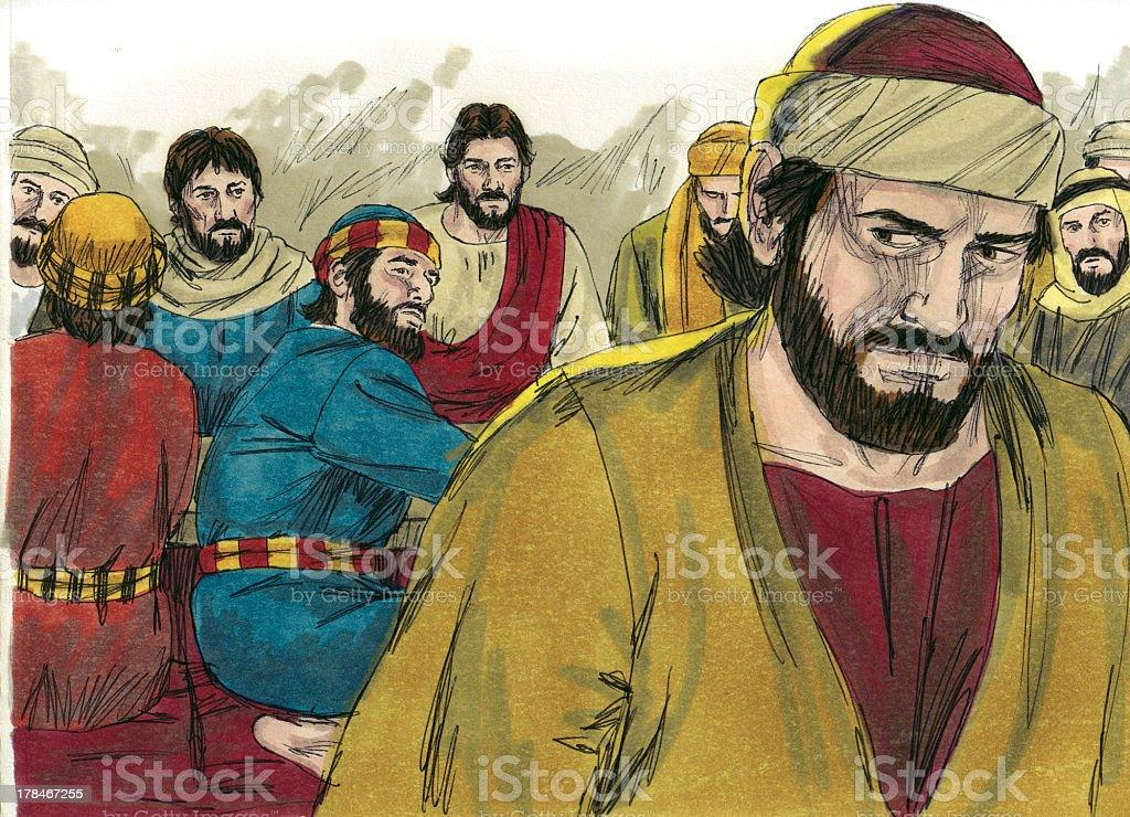 Judas Leaves Last Supper royalty-free stock photo