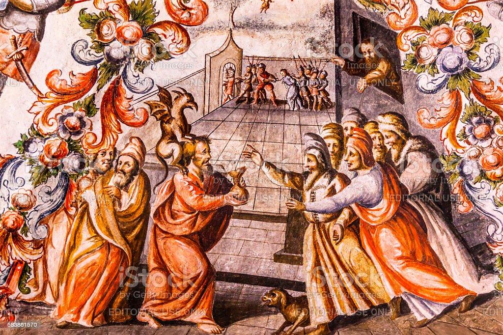 Judas Receiving Silver Fresco Sanctuary of Jesus Atotonilco Mexico stock photo