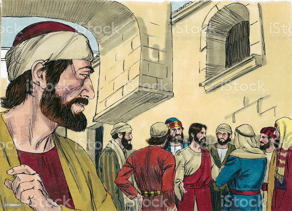 Judas Watches Jesus and the Disciples royalty-free stock photo