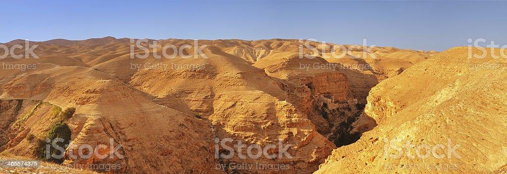 Judean desert. Mount of Temptation, Palestine stock photo