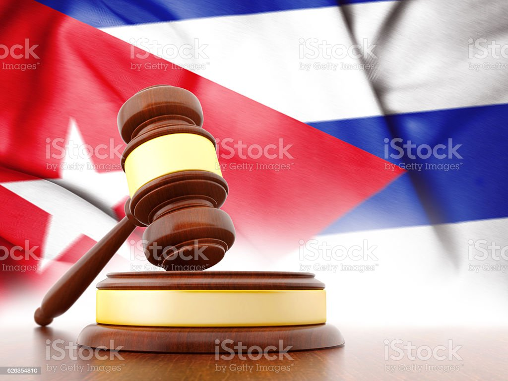 Jude's gavel and Cuba flag stock photo