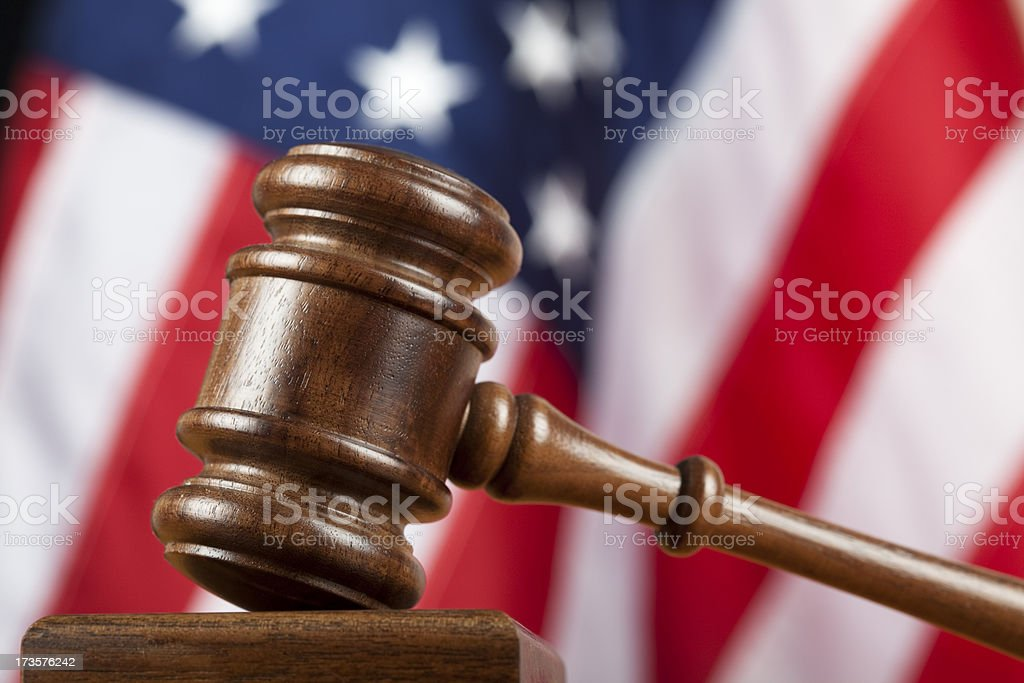 Jude's gavel and US flag stock photo